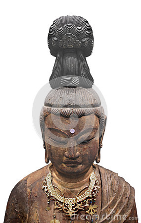 Ancient Japanese sculpture isolated