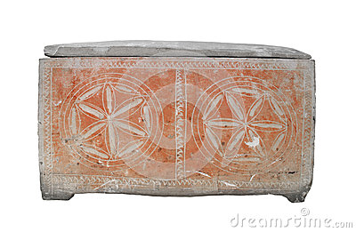Ancient Jewish stone coffin isolated.