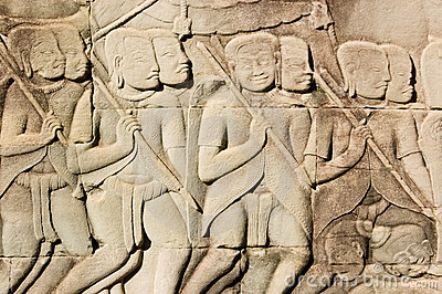 Ancient Khmer Army carving