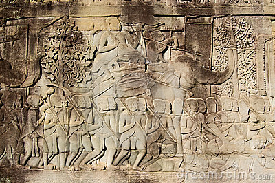 Ancient Khmer Army commander on elephant