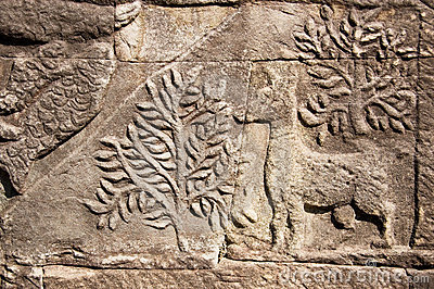 Ancient Khmer carving of deer