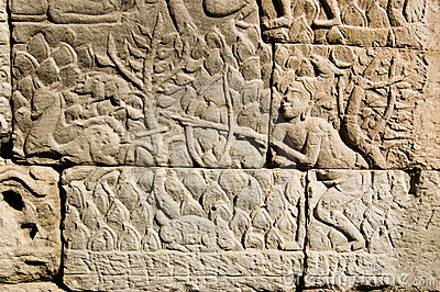 Ancient Khmer carving Deer Hunter