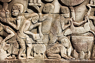 Ancient Khmer cooking scene