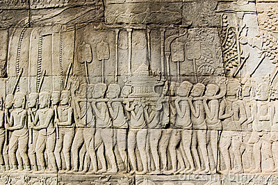 Ancient Khmer religious parade frieze