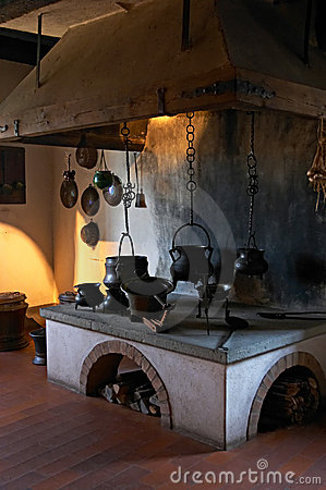 Ancient kitchen in a 13th century castle