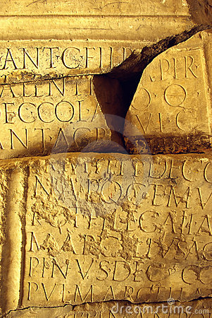 Ancient Latin Inscription Broken Stone
