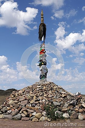 Ancient martial ovoo - traditional religious holy place