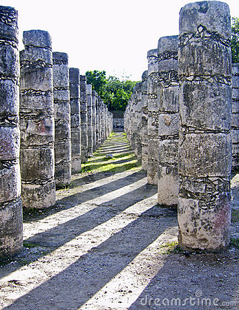Ancient Maya columns in Chichen Itza