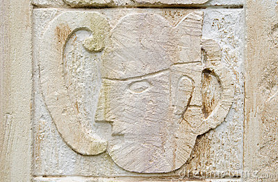 Ancient maya stone relief