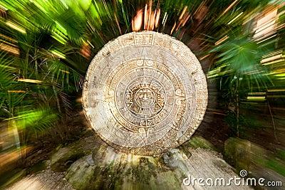 Ancient Mayan calendar in the jungle