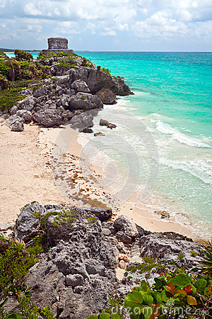 Ancient Mayan ruins temple on the beach of Tulum