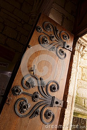 Ancient medieval door, iron deco