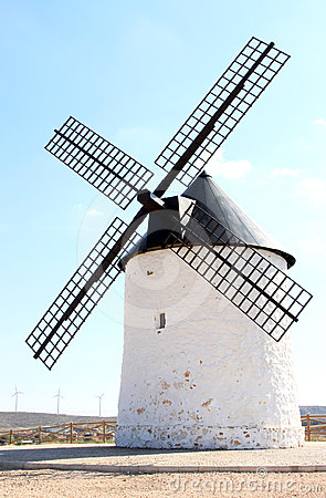 Ancient mill in La Mancha near Pozo Canada, Spain