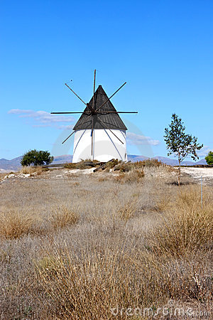 Ancient mill near Fernan Perez in Andalusia, Spain