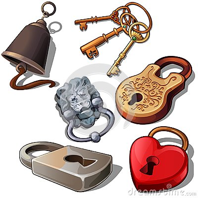 Free Ancient, Modern And Romantic Padlocks With Keys And Door Bell. Locks In Shape Of Heart, Lions Head And Floral Ornament Royalty Free Stock Photography - 102338857