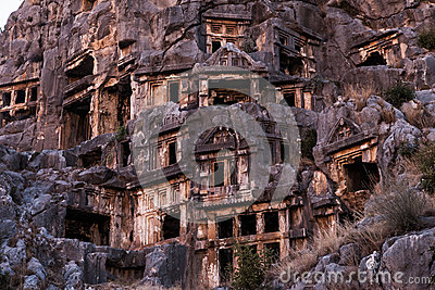 Ancient Myra rock tomb at Turkey Demre