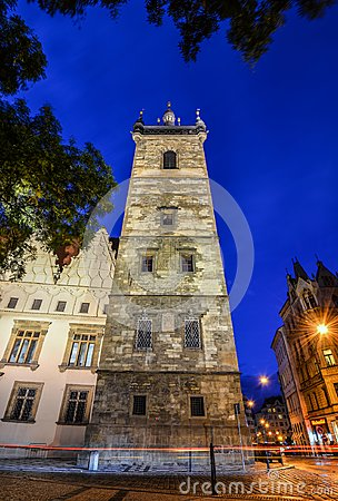 Free Ancient New Town Hall Tower And Night Lights, Prague, Czech Republic Royalty Free Stock Images - 110273009