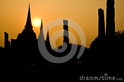 The ancient pagoda of Ayutthaya, Thailand