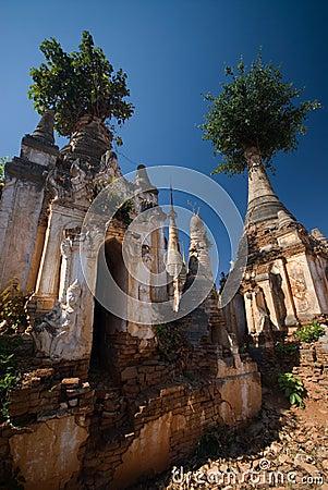 Ancient Pagodas of Inn Taing  near Inle lake .