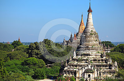 Ancient pagodas with stupas in city of Bagan