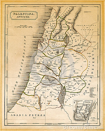 Free Ancient Palestine Map Printed 1845 Stock Photography - 29770552