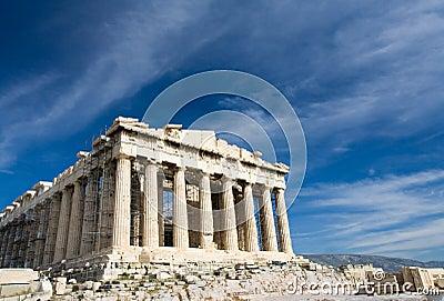 Ancient Parthenon in Acropolis Athens Greece on bl