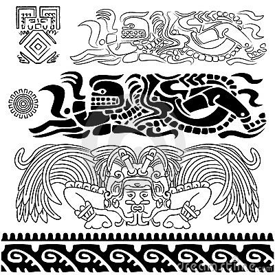 Ancient patterns with mayan gods