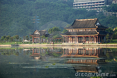 The ancient pavilion by the lake