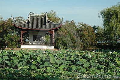 Ancient Pavilion overlooking field of waterlilies