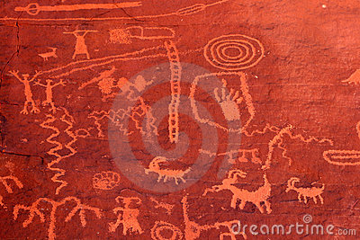 Ancient petroglyphs in Valley of Fire, Nevada