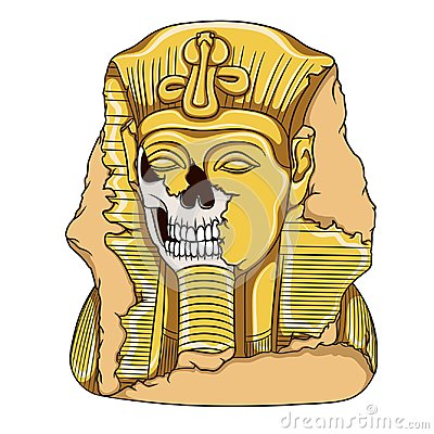 Free Ancient Pharaoh Statue Of A Skull. Color Vector Illustration. Royalty Free Stock Photos - 100724518