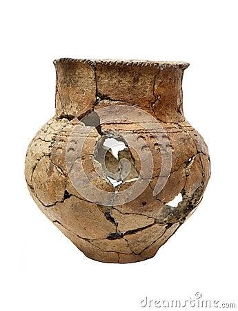 Ancient prehistoric broken pot