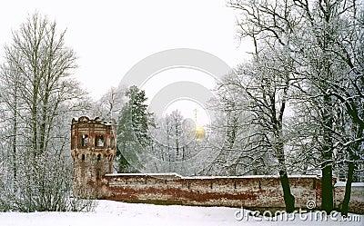 Ancient red brick walls and a church