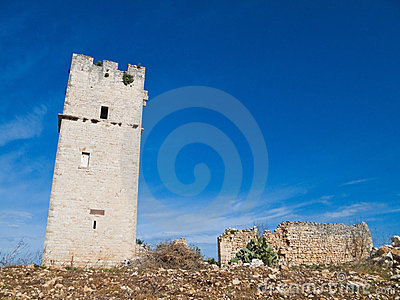 Ancient Red Stones Tower of Giovinazzo. Apulia.