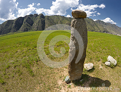 Ancient  reindeer stone. Altai