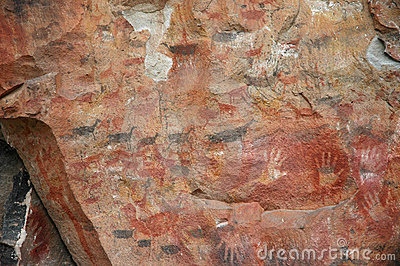 Ancient rock art on cave wall