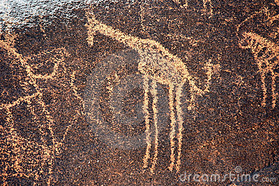 Ancient rock art in Niger depicting a giraffe