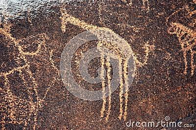 Ancient rock art in Niger depicting a giraffe