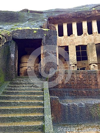Free Ancient Rock Cut Buddhist Settlement Caves Royalty Free Stock Photos - 59498918