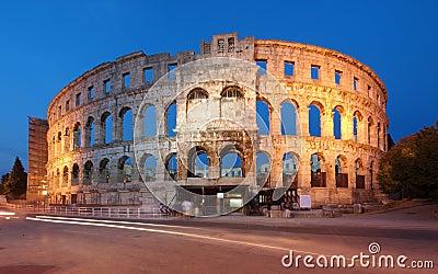Ancient Roman Amphitheater at dusk