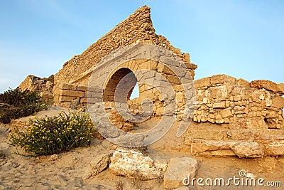 Ancient Roman aqueduct in Ceasarea