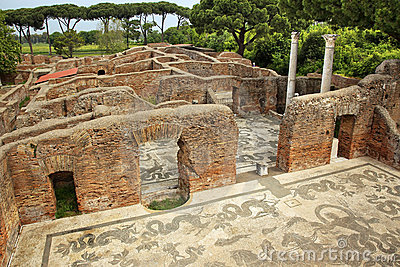 ancient roman baths mosaic ostia antica rome royalty free