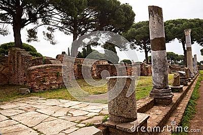 Ancient Roman Columns Ostia Antica Rome