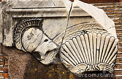 Ancient Roman Decorations Helmet Ostia Antica Rome