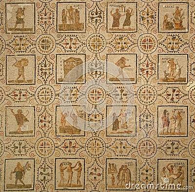 Ancient Roman mosaic. Calendar