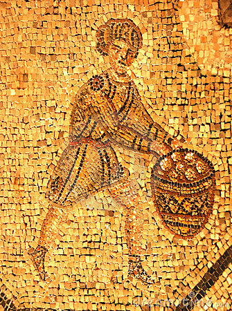 Ancient roman mosaic of a man in a tunic