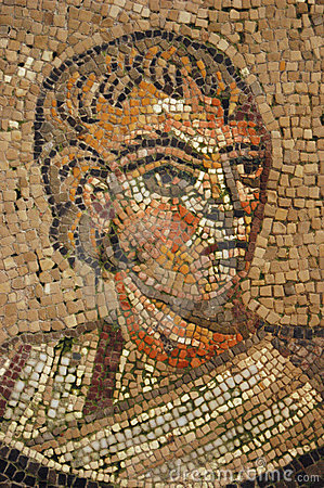 Ancient roman mosaic of rich patron