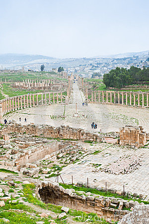 Ancient roman oval forum in antique town Jerash