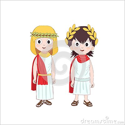 Ancient rome cartoon characters of boy and girl wearing traditional costumes. Vector illustration Cartoon Illustration