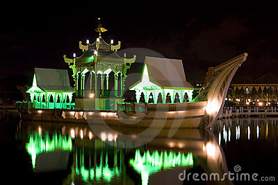 Ancient Royal Barge at Night, Brunei